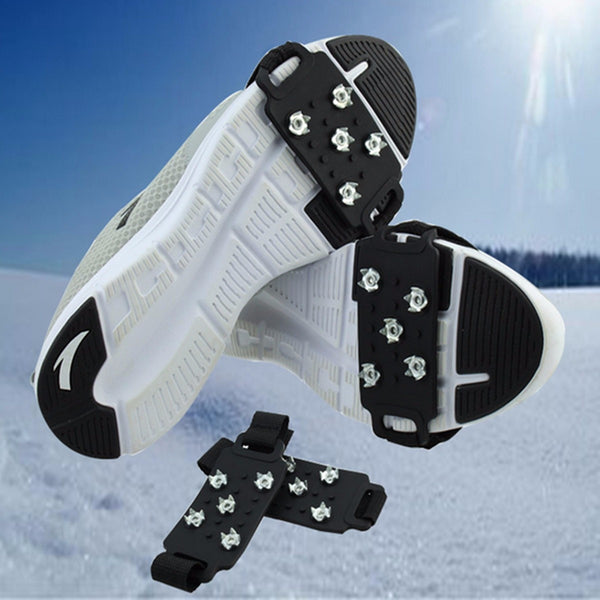 BSAID1Pair Silic Ice Grippers Snow Ice Climbing Anti Slip Spikes Grips Crampon Cleat 5-Stud Shoes Cover Hiking Trekking Slipper