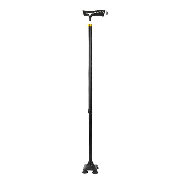 Folding Thicken Elderly T-handle Walking Stick 5 Modes Adjustable Telescopic Hiking Pole Crutch Stick Cane with LED Light