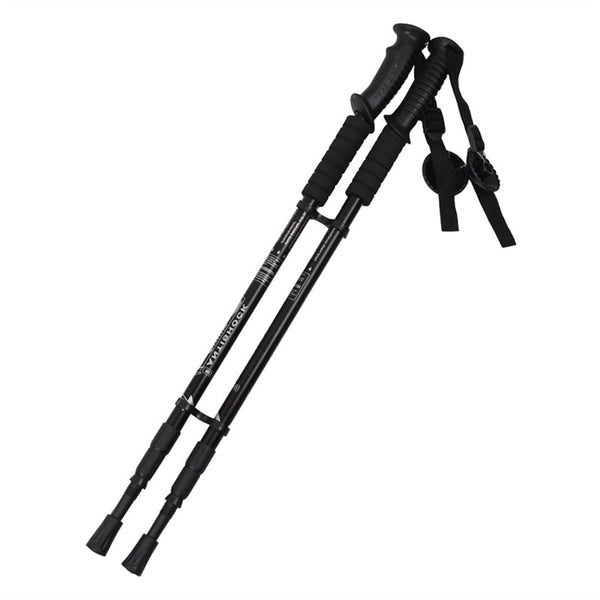2pcs Outdoor Travel Camping Hiking Climbing Walking Stick Aluminium Alloy Alpenstock Skiing Trekking Pole (Black)