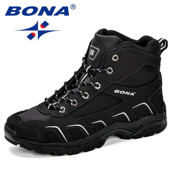 BONA New Trendy Design Men Hiking Shoes Anti-Skid Mountain Climbing Boot Outdoor Athletic Breathable Men Leather Trekking Shoes