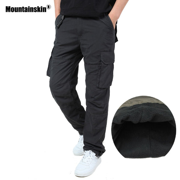 Mountainskin Men Winter Fleece Pants Windproof Outdoor Sports Cargo Pants Hiking Trekking Camping Climbing Brand Trousers VA292