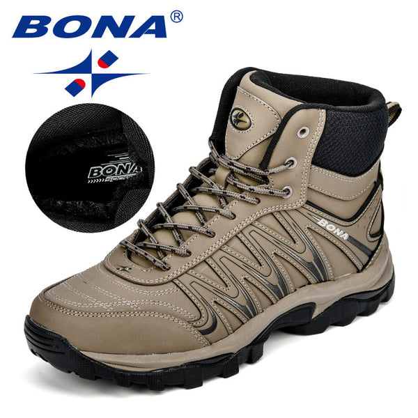 BONA New Arrival Big Size Men's Hiking Shoes Male Outdoor Antiskid Breathable Trekking Hunting Tourism Mountain Shoes Durable
