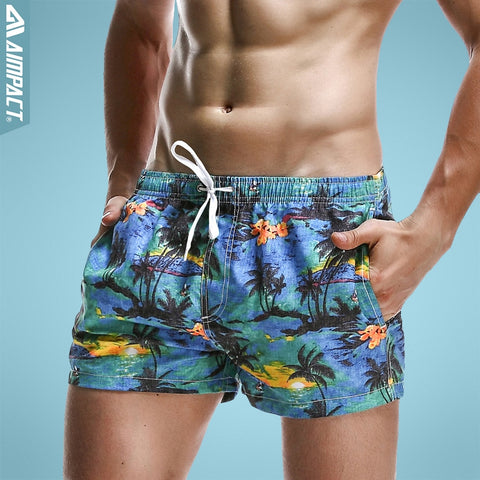 Aimpact Breathable Men's Shorts Summer Elastic Waist Men's Board Shorts Leisure Pattern Print Beach Bermudas Men Short 2PF70-moslily