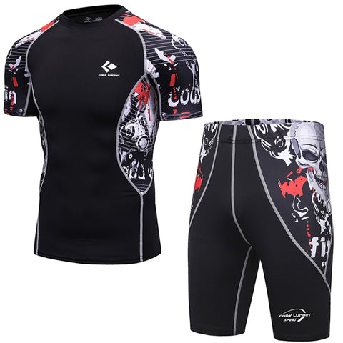 Man's Compression Suits MMA Rashguard Short Sleeves T-Shirts+Short Pants Workout Fitness Bodybuilding Sets Tops and Bottoms-moslily