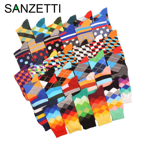 SANZETTI 5 pair/lot Funny Pattern Bright Colorful Men Socks Argyle Oil painting Dot Striped Combed Cotton Crew Wedding Socks-moslily