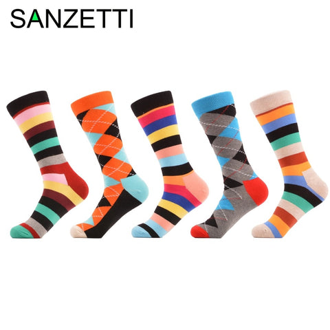 SANZETTI 5 pair/lot Luxury Cool Striped Argyle Bright Colorful Combed Cotton Men Socks Dress Wedding Gift Socks Size EU 40-47-moslily