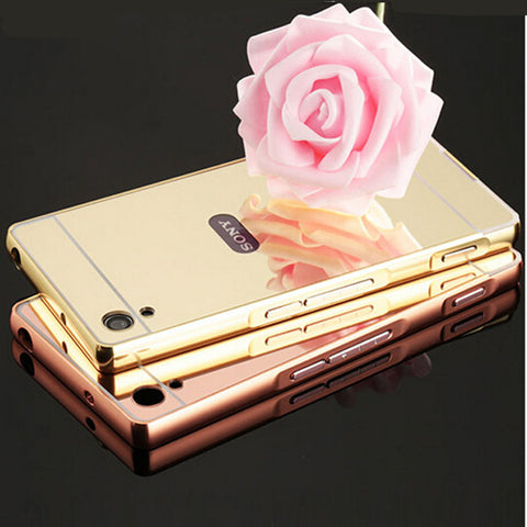 Luxury Rose Gold Aluminum plating Mirror case for Sony Xperia Z Z1 Z2 Z4 Z5 Z3 Z5 compact premium M4 M5 Metal Frame Back Cover-moslily