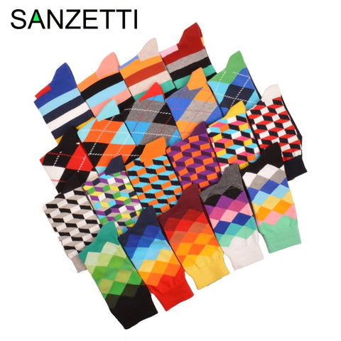 SANZETTI 5 pair/lot Luxury Men Socks Bright Colorful Combed Cotton Socks Funny Argyle Pattern Casual Dress Socks Wedding Gift-moslily