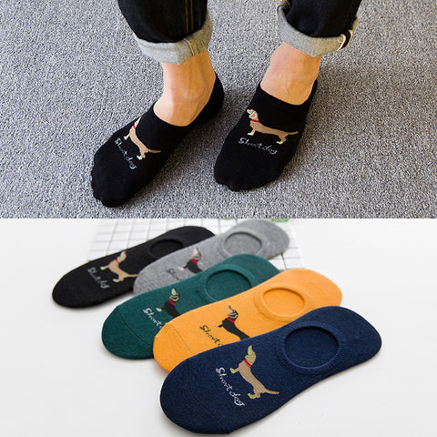 spring summer men cotton Man Socks short dog Male Low Cut Ankle Sock boy boat casual slippers 1pair=2pcs WS112-moslily