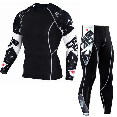 Long Sleeve Rash Guard Complete Graphic Compression Shorts Multi-use Fitness MMA Tops Shirts Men Suits-moslily