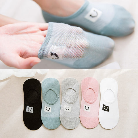 Spring Summer Invisible Socks smile face Woman Boat Socks Mesh Ventilation Sock Cotton hoisery girl boy slipper 1pair=2pcs ws104-moslily