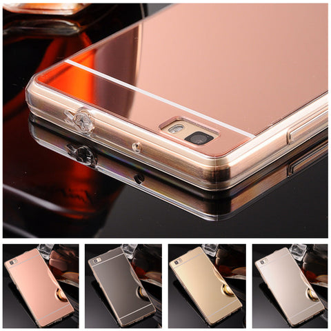 Flash Mirror Rose Gold Luxury Fashion Case for huawei ascend p8 lite Soft Clear TPU Mirror for huawei p8 lite case for huawei p8-moslily