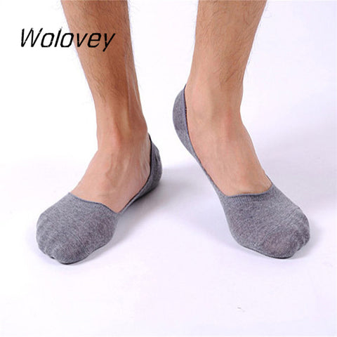 Wolovey#20 2017 New Style Man Shallow Mouth Invisible Boat Cotton Slip Socks Anti-friction Breathable Deodorant 0428-moslily