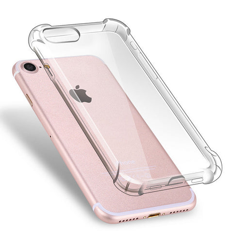 Anti Knock Air Cushion Clear Transparent Thick Soft TPU Case For iPhone 7 6s 6 8 Plus 5 5s SE 4 4S X Phone Case-moslily