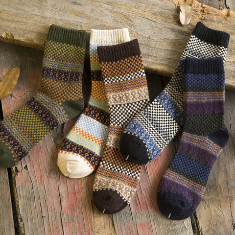 Vintage Men Warm Winter Thick Wool Mixture Soft Cashmere Casual Dress Socks-moslily