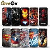 Marvel Super Hero Superman Case Cover for iPhone X 8 Plus 7 6 6s Phone Cases Deadpool Batman Avengers for iPhone 7Plus iPhone7-moslily