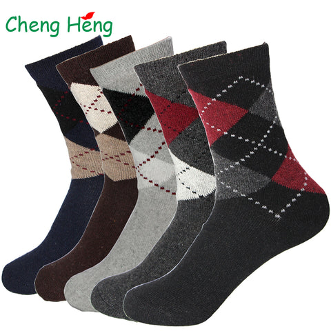 Rabbit Wool Blended Quality Men's Warm Socks Breathable Soft Business Casual dotted line rhombus Prints Spring Winter Male Sock-moslily