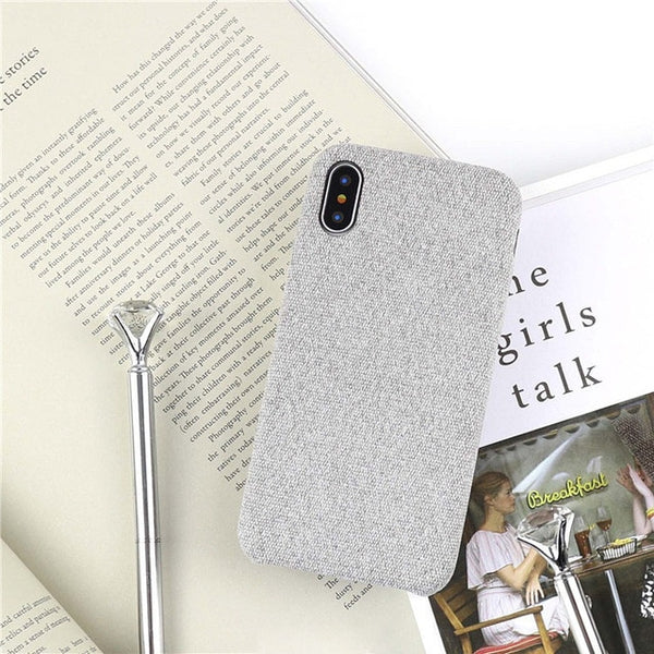 LACK Vintage Warm Fuzzy Phone Case For iphone X Case Classic Solid Color Cloth Skin Back Cover Fashion Soft Cases For iphoneX-moslily