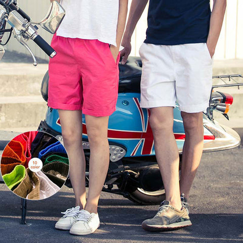Fashion Cotton Shorts Casual Elastic Waist Summer Beach Candy Color Men Women Lovers Short Pants H9-moslily
