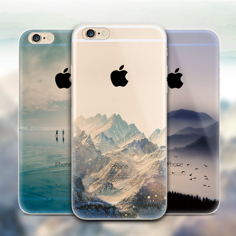 Fashion Soft Silicone TPU Case Cover For iPhone 6 6S 7 8 Plus 5 5S SE Mountain City Landscape Seasons Scenery Starry sky Skin-moslily