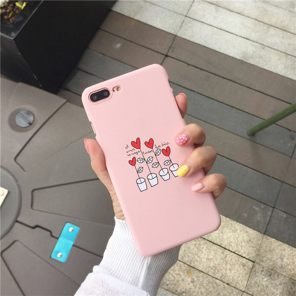 KL-BOUTIQUES Cartoon Case For Fundas iPhone 5 5S 6 6S 7 8 Plus Simple Love Back Cover For iPhone5 s Fashion Slim Hard Case Coque-moslily