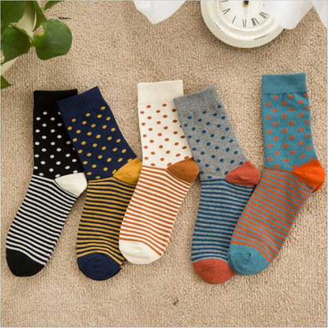 New Arrival high quality combed cotton men polka dot strip happy socks color brand designer casual novelty dress business-moslily