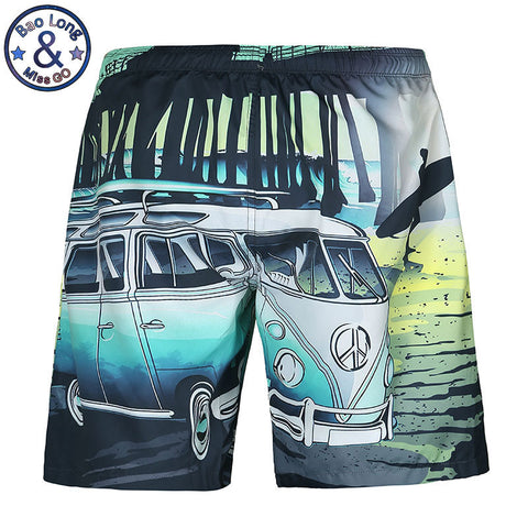 Mr.BaoLong Mens Beach Summer Shorts Swimsuit Cartoon Bus Car Funny Casual Board Shorts Bermuda Masculina Boardshort #K113-moslily