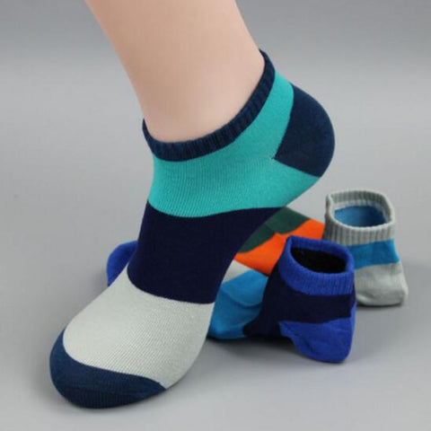 Spring/Summer Colorful Striped Short Men Socks Male Fashion Casual Brand Ankle Socks For Men Combed Cotton Low Cut Socks/1Pairs-moslily