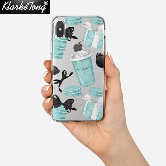 KlarkeTong Fashion Blue Box Girl Case For iPhone X 8 7 6 6s Plus 5 5s SE Silicone Clear Soft Cat And Coffee Macaron Phone Cover-moslily
