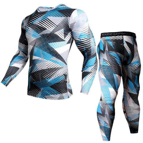 Men Compression Shirt Pants 2Pcs/Sets Tracksuit Camouflage Long Sleeve Tshirt Jogger Leggings Mens Gyms Bodybuilding Sportswear-moslily