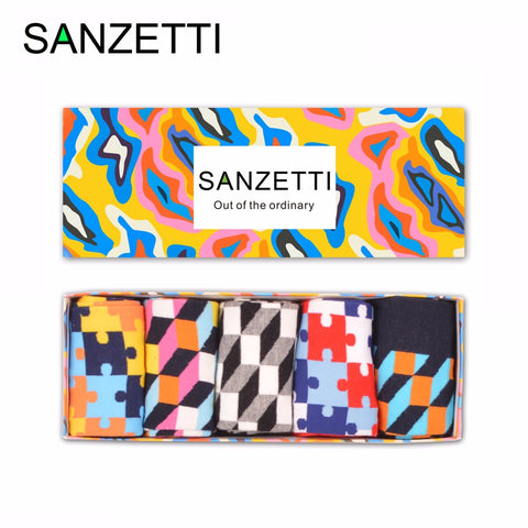 SANZETTI 5 pair/lot Gift Box Novelty Men's Funny Puzzle Pattern Combed Cotton Skateboard Socks Casual Crew Socks Birthday Gifts-moslily