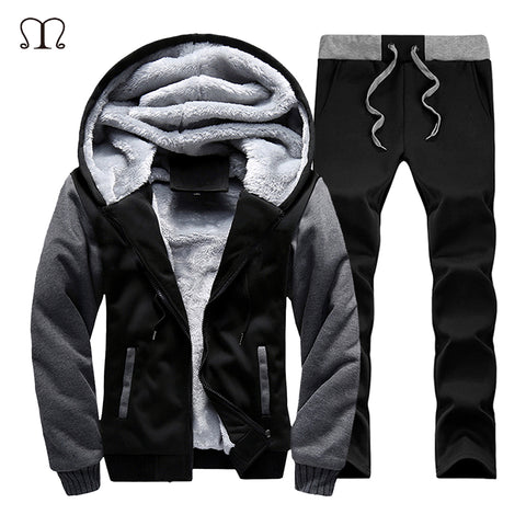 New Men Set Fashion Brand Fleece Thick Tracksuit + Pants 2 Pieces US Size Spring Warm Hooded Sporting Suit Mens Sportswear Sets-moslily