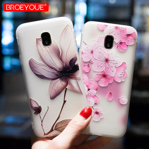 BROEYOUE Case For Samsung A3 A5 A7 2016 2017 J2 Prime J5 Prime J7 Prime J5 J7 2017 J3 J5 J7 2016 Relief TPU Flowers Animal Cover-moslily