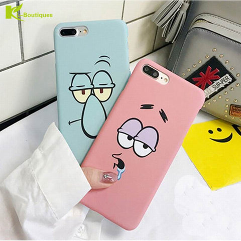KL-Boutiques Cartoon Case For iphone 5 5s Cases Funny Face Couples Back Cover For Fundas iPhone 6 6S 7 8 Plus Hard PC Case Coque-moslily