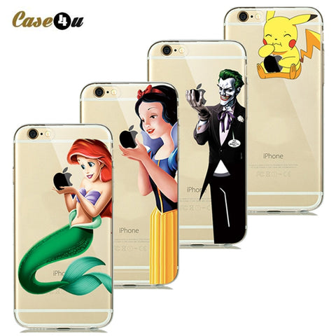 Touch Logo Creative Phone Covers Case for coque iphone 7 Plus 6s 6 5s SE Soft Silicone Case Pokemons Snow White Mermaid Capinhas-moslily