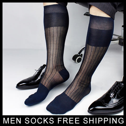 Super Quality Men TNT Nylon Silk socks Sheer Formal Dress Socks Sexy Gay Transparent Stripe Business TNT socks-moslily