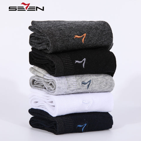 Seven7 Brand Fashion Men Socks 5 Pairs\Set High Quality Cotton Sock Solid Colors Classic Basic Comfortable Dress Socks 114F00060-moslily