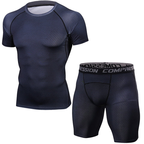 MMA Muscle Men Tracksuit Compression Set T Shirt Men's Fitness Tights Short Sleeeve Suits Sportswear Gyms Crossfit Clothing-moslily