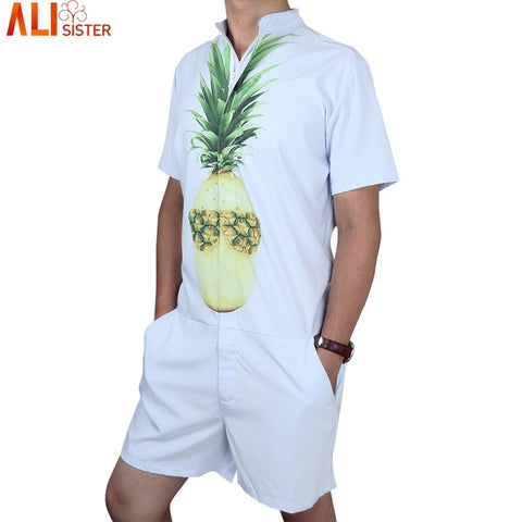 Pineapple Print Men's Rompers Short Sleeve Jumpsuit Romper Hoiday Playsuit Overalls One Piece Slim Fit Alisister Brand Clothing-moslily
