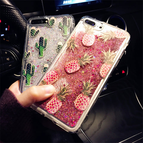 Bling Glitter Dynamic cactus pineapple Liquid Quicksand Phone Back For iPhone 6 6 S 7 Case For iPhone 7 8 X 6S Plus Capa-moslily