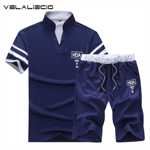 VELALISCIO Summer Tracksuits Men 2018 New Men's Casual Wear Short-Sleeved Shorts Suit Men's Fashion Youth Wear Men Set-moslily