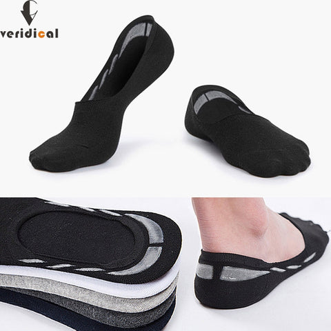 VERIDICAL 1 lot = 5 pairs summer invisible sock men cotton 360 non-slip silicone ankle socks male boy breathable meias masculino-moslily