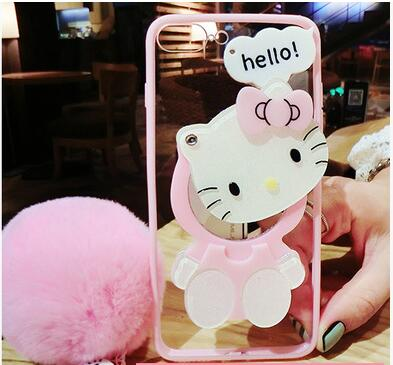 For iPhone 7 plus /X 8 6 6splus case pink Hello kitty For samsung galaxy s8 plus s6 s7 edge case cartoon cat mirror cover +rope-moslily