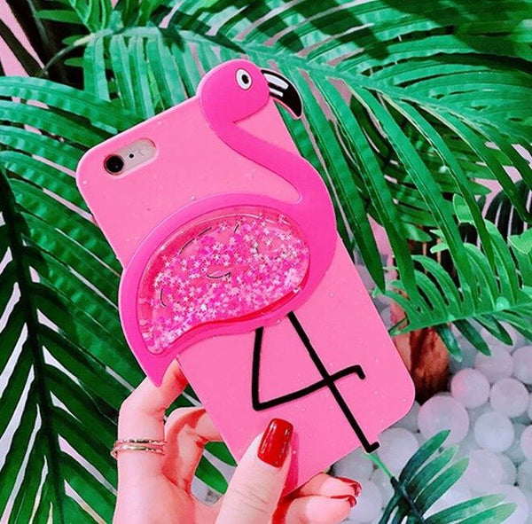 3D Glitter rainbow Cute Flamingo Rubber Case For iPhone 6 6S 7 Plus Soft Silicon Cartoon Cover Back For iPhone X 8 plus 7 6 S-moslily