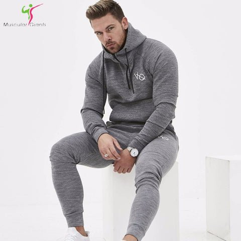 New 2018 Spring Set Men's Fashion Sportswear Tracksuits Sets Men's Bodybuilding Hoodies+Pants casual Outwear Suits Size M-XXL-moslily