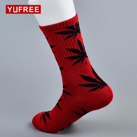 Yufree 2018 New Fashion Maple Leaf Socks 100% Cotton Four Seasons Happy Socks Male Vintage Lovers Breathble Socks Hot Sale-moslily
