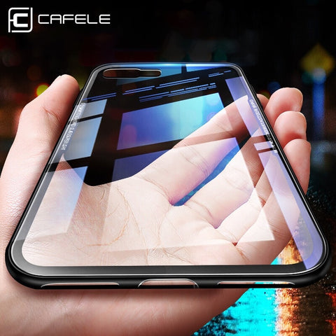 Cafele Glass Case for iPhone 7 8 Plus Luxury Tempered Glass Cover for iPhone 7 8 Plus Anti Scratch HD Clear 9H Hardness-moslily