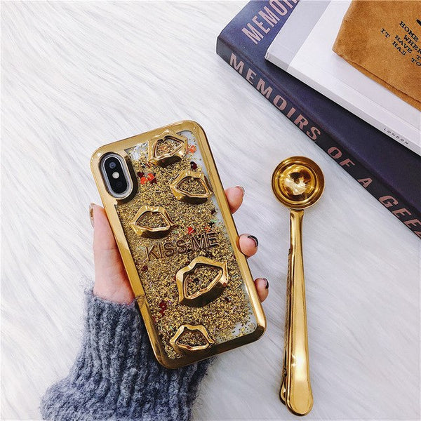 Electroplate lips Dynamic Liquid Quicksand Phone Case For Samsung S8 Plus J1 J3 J5 J7 2015 2016 2017 J2 J5 J7 Prime Back Cases-moslily