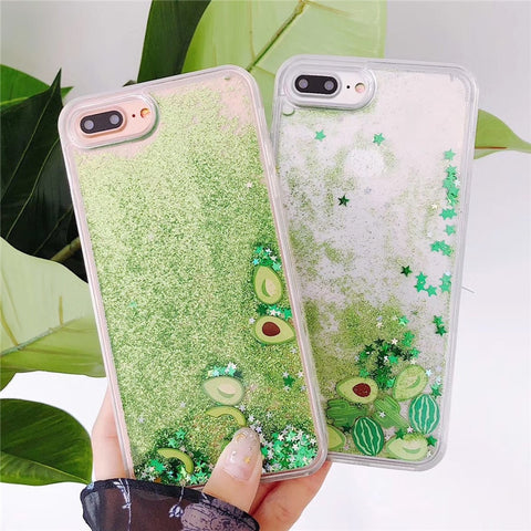Bling Glitter watermelon Avocado Phone Case For iPhone 7 6 6S Plus Flowing Liquid fruit Back Cover For iPhone X 6 7 8 6S plus-moslily
