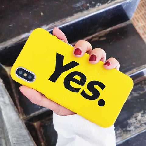 Luxury Hard PC Phone Case For iphone X Case For iphone 7 6 6s 8 Plus Fashion Funny YES Print Back Cover Ultra thin Yellow Cases-moslily